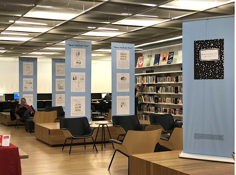 """""""Never the Right Time"""" banner exhibit - 53rd St. Branch of the New York Public Library"""